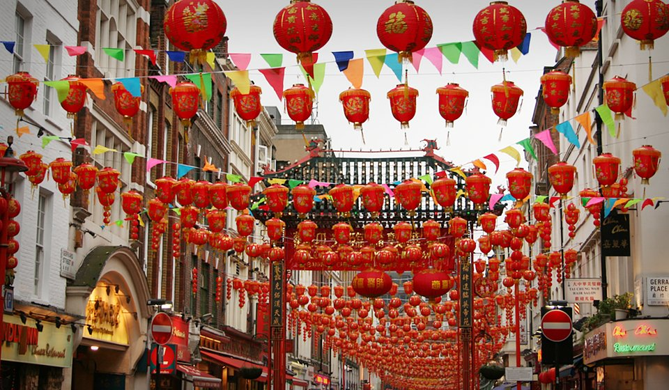 chinatown london-chinese new year red lanterns